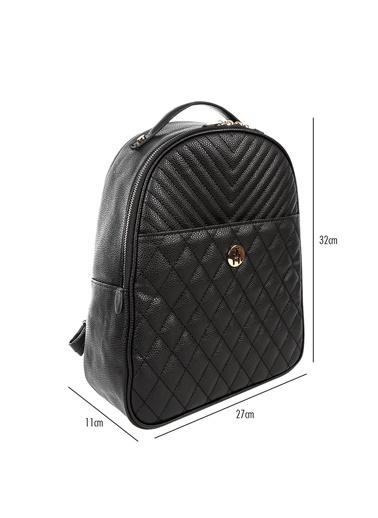 TH Bags TH Bags 27 x 32 x 11 cm Askılı Fermuarlı Fermuarlı İÇ Cep Suni Deri Kadın Sırt Çantası Siyah